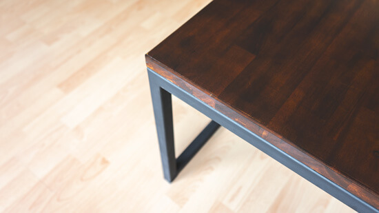 Coffe table: Spruce, steel